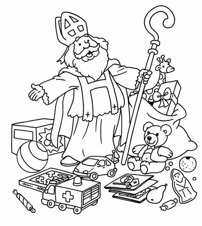 Sinterklaas Deelt Pakjes Uit Kleurplaat