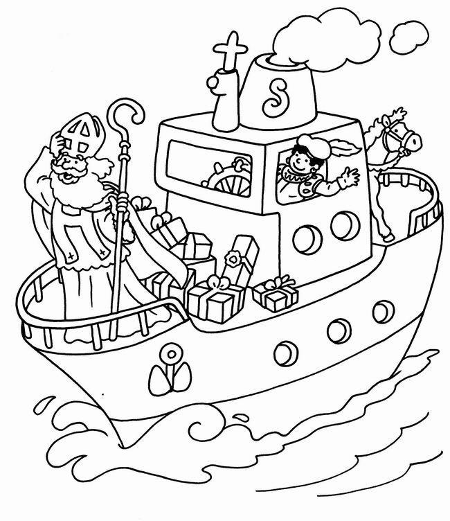 Kleurplaten Sinterklaas Zwarte Piet Stoomboot.Kleurplaten Piet En Sinterklaas Stoomboot 34 Kleurplaten Sinterklaas